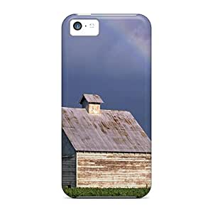 Iphone 5c Case, Premium Protective Case With Awesome Look - Rainbow Over Barn In A Corn Field In Illinois