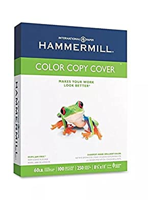 "Hammermill - Color Copy Cover Paper, 60lb, 100 Bright, 8-1/2 x 11"" - 250 Sheets < Specifically engineered for high-speed digital color copiers and laser printers >"