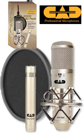 CAD GXL3000SP Studio Pack with 1 GXL3000 Multi-Pattern Condenser, 1 Small Diaphram Condensor, and 1 Pop Filter - Multi Pattern Studio Condenser