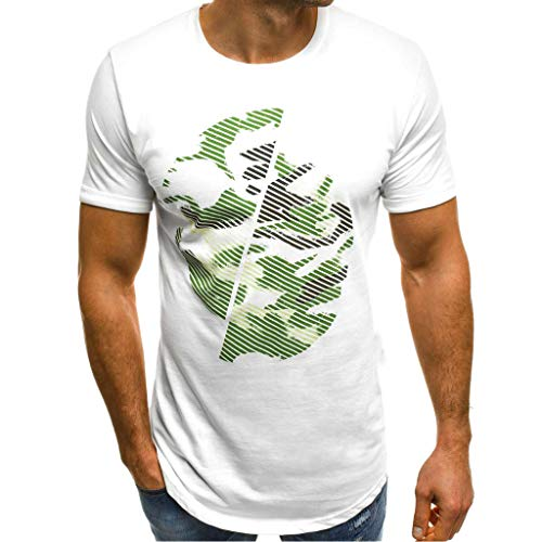 Men's T-Shirt Camouflage Gradient Casual Fashion Shirt Cotton Loose-Fit Crewneck Short SleeveTee (XXL, White)