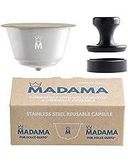 Madama - Hervulbare Dolce Gusto Koffiecapsule, Herbruikbaar en Compatibel. Roestvrij staal en siliconen (geschikt voor etenswaren). 100% Gemaakt in Italië. Pakket van 1 capsule.