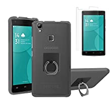 DOOGEE X5 MAX Pro Case with Ring Stand + Screen Protector, Gzerma Ultra Slim Scratch Resistant Shock Absorbing TPU Protection Cover with 360° Universal Grip Finger Ring Kickstand Holder and Shatterproof, Bubble Free Protective Film for Doogee X5 Max Pro, Gray