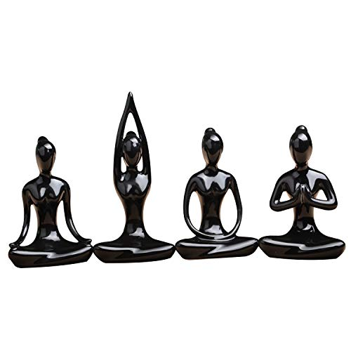 Lot Of 4 Meditation Yoga Pose Statue Figurine Ceramic Yoga Figure Set Decor (Black Set)
