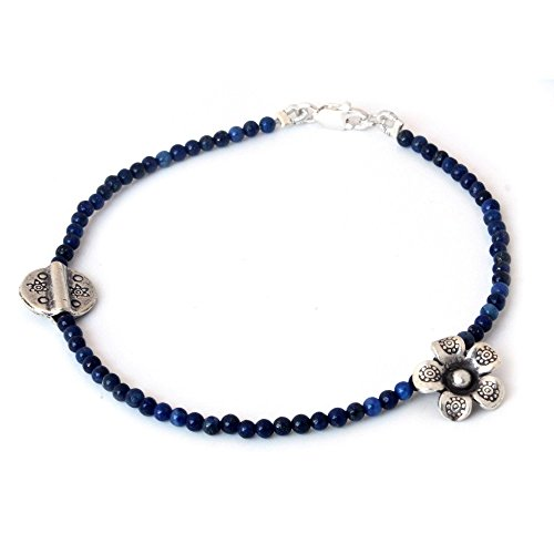 NOVICA Lapis Lazuli .925 Sterling Silver Beaded Bracelet, 7.25 Hill Tribe River