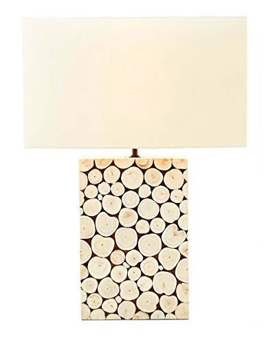 O'THENTIQUE 22 Inches Large Driftwood Mosaic Table Bedside Desk Lamp Off White Rectangle Linen Shade Handmade Natural Vintage for Home Decor, Living Room, Bedroom, Kids Room, Office, Library by O'THENTIQUE