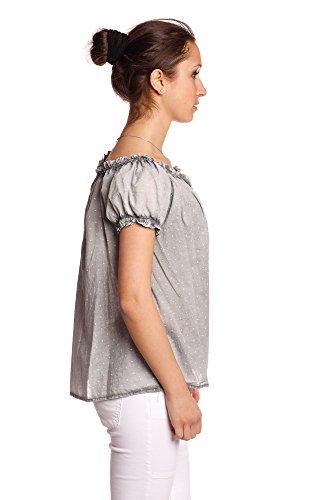 Abbino 1935 Blusas V-cuello y puntos Tops para Mujeres - Hecho en ITALIA - 6 Colores - Entretiempo Primavera Verano Otoño Moderno Delicado Oficina Fiesta Mujeres Elegantes Camisas Fashion Rebajas Gris