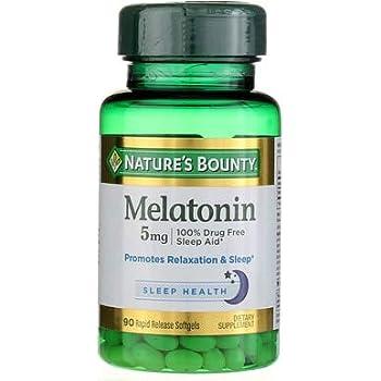 Natures Bounty Melatonin 5 mg Super Strength- 90 Softgels, Pack of 6