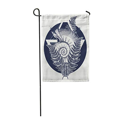 den Flag Nautilus Shell Prehistoric Tattoo Art Trilobites Ammonite and Fern Ancient Home Outdoor Decor Double Sided Waterproof Yard Flags Banner for Party ()