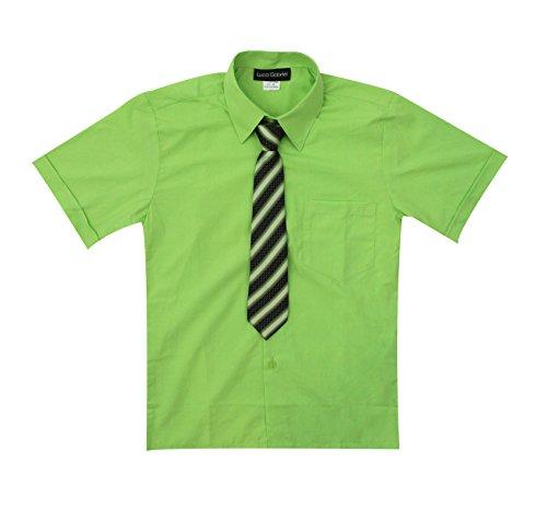 Luca Gabriel Toddler Boy's Short Sleeve Formal Button Down Dress Shirt & Tie Set - Lime Size 10