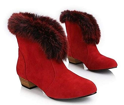 Leather Boots Women Designer Suede Boots Plus Size 32-43 Wedges Shoes Pointed Toe Winter Women Knigh(Red 7)