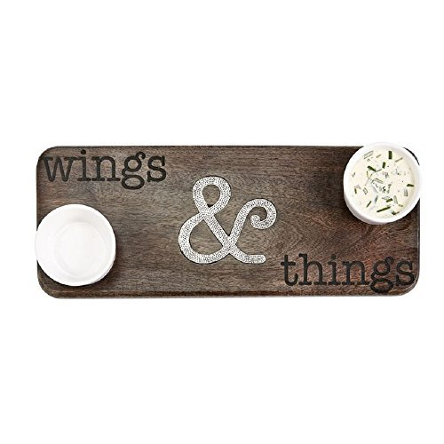 Mud Pie 4751135 Wings and Things Wooden Serving Board, One Size, Brown by Mud Pie
