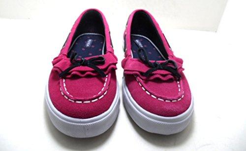 Girl's Nautica Ruffle Suede Pink Boat Shoes (4)