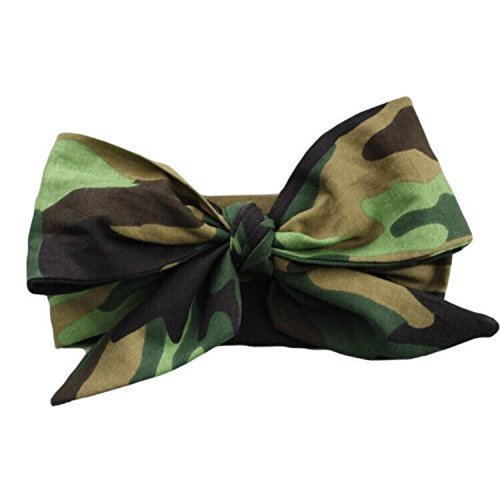 Brown and Green Camo Camoflauge Headwrap Fabric Headband, One Size Fits All