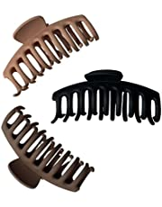 3 PCS Big Claw Hair Clips - 4 inch/12 cm for Women Girls Thin Thick Hair Fashion Hair Styling Strong Hold Accessories - Black, Brown, Caramel (3 Pack) - Finest Solstice