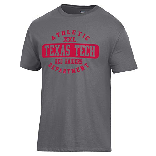 Basketball College Shirts - Champion NCAA Texas Tech Red Raiders Men's Ringspun Short Sleeve T-Shirt, Granite Heather, X-Large