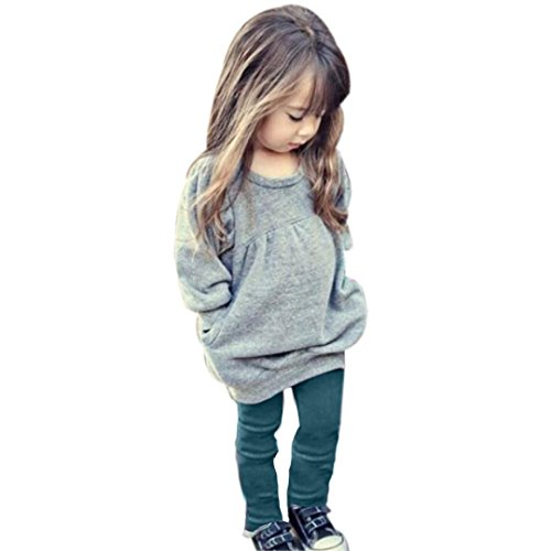 Mosunx(TM) Kids Girls Outfit Clothes Warm Long Sleeve T-shirt +Long Pants (5T, Gray)