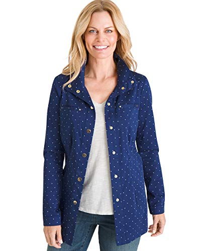 (Chico's Women's Luxe Twill Utility Jacket Size 4/6 S (0) Blue)