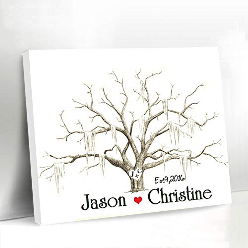 Anyuwerw Casamento Wedding Fingerprint Tree Guest Book Canvas Printing Custom Couple Names with Heart Thumbprint Guestbook Party Decor with Ink Pads-40x50cm