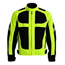 Riding Tribe JK21 Summer Motorcycle Jacket Motocross Off Road Protective Gear Reflective Fluorescent Green (XXL)