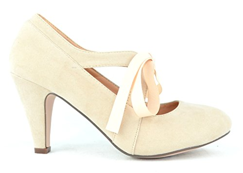 Chase & Chloe Kimmy-62 Women's Vintage Bow Mary Jane High Heel Pump (10, - Black Women Vintage Nude