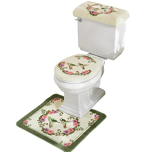 Collections Etc Hummingbird Floral Bathroom Toilet Accessories - 3 Pc