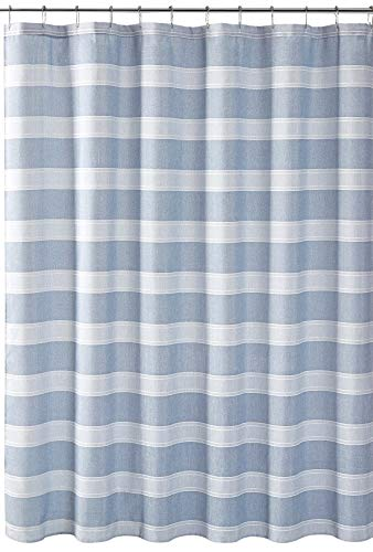 VCNY Home Fabric Shower Curtain: Chambray Stripe Weave Classic Design (Blue/Silver)