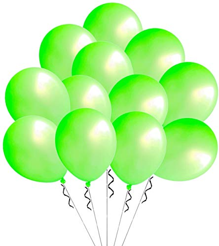 Elecrainbow 100 Pack 12 Inch 3.2 g/pc Thicken Round Pearlescent Latex Light Green Balloons for Party Decorations, Light Green ()