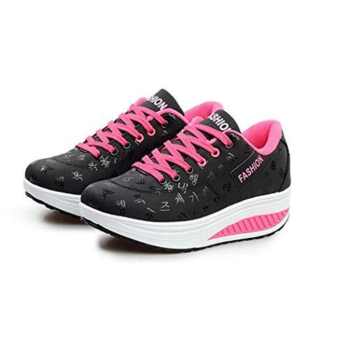 Zapatos Casuales Mujer Con Zapatillas Plataforma Transpirable Moda Vobome Asfalto Correr Cordones Deporte Negro En qCSwt4xCE5