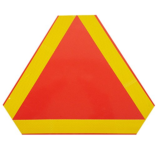 (LSERVER 14.3 inches Slow Moving Vehicle Sign with Yellow and Red Reflective Film)