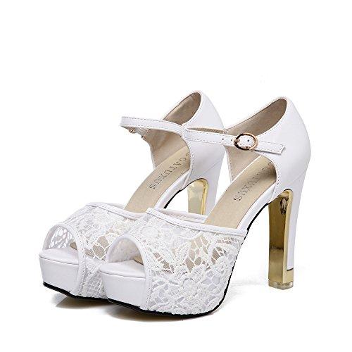 (GATUXUS Lace Open Toe Women Platform High Heel ShoesParty Pumps Prom (7 B(M) US, White 2))
