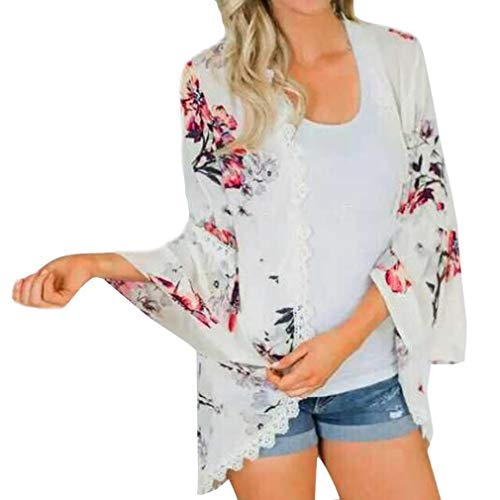 Blouse Casual Bohme Mousseline Dentelle Vintage Chic Cardigan Mode Manteau Longra Blanc Costume shirt Femmes Cardigan imprime soie Elgant Chemisier Kimono Chemise de Tee Tops Fleur q04ngwTZ
