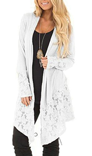 Lace Wool Cardigan (CBTLVSN Women Casual Open Front Long Sleeve Lace Hem Asymmetrical Cardigan White XXS)
