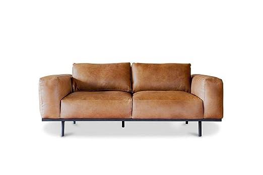 Sofá de Cuero marrón Almond - Cuero de Plena Flor, Confort ...