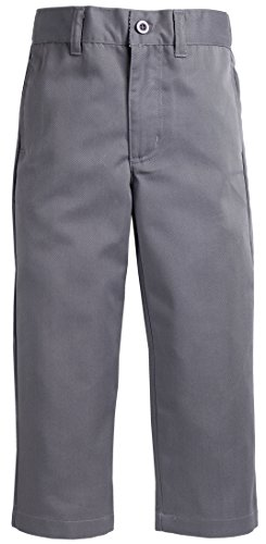 Boys Dress Twill Pant (Sportoli™ Boys Flat Front Adjustable Waist Twill Chino Long Uniform Dress Pants - Grey (Size)