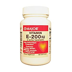 Major E 200 IU DL-Alpha TOCOPHERYL Vitamin E-200 Unit Clr Lt Yellow 100 CAPS UPC 309040272607
