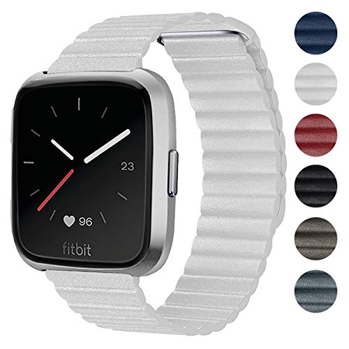 Shangpule Compatible Fitbit Versa Bands Women Man, White Genuine Leather Loop with Unique Magnetic Strap Replacement Wristbands Accessories Compatible Fitbit Versa Fitness Smart Watch