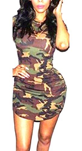 特殊破産マサッチョTootlessly Womens Camo Crew Neck Short Sleeve Sexy Party Midi Dress