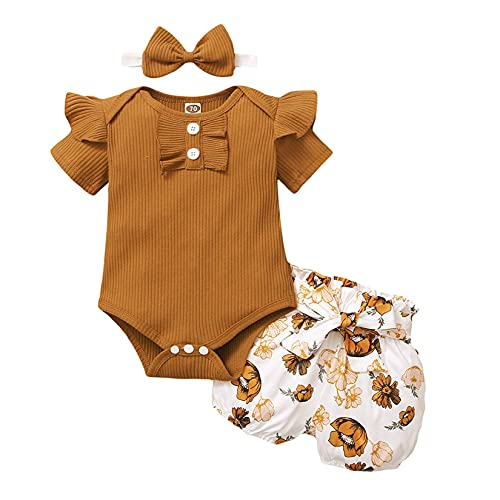 Infant Baby Girl Ribbed Ruffle Romper Top+Floral Shorts Pant+Bow Headband Outfit (Brown, 6 Months)