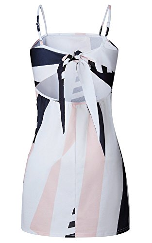Minetom Mujeres Atractivo Sin Mangas Impresión Floral Mini Vestido Escotado Por Detrás Bowknot Bodycon Dress Ropa De Noche Fiesta Blanco