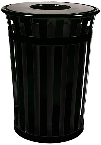 Witt Industries M3601-FT-BK Oakley Standard Waste Receptacle, Steel, 36 gal, Black (Industries Metal Wastebasket)