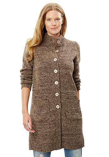 Woman Within Women's Plus Size Marled Sweater Jacket - Light Khaki Chocolate, 2X - Marled Knit Cardigan