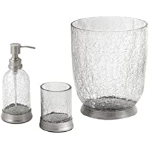 crackle glass bathroom accessories. 3 Piece Crackle Glass  Brass Bathroom Accessory Set includes Soap Pump Tumbler and Waste Basket Clear Matte Amazon com Paradigm Trends