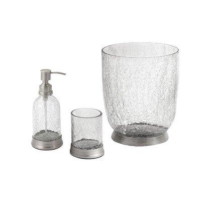 black crackle bathroom accessories. 3 Piece Crackle Glass  Brass Bathroom Accessory Set Includes Soap Pump Tumbler Amazon Com