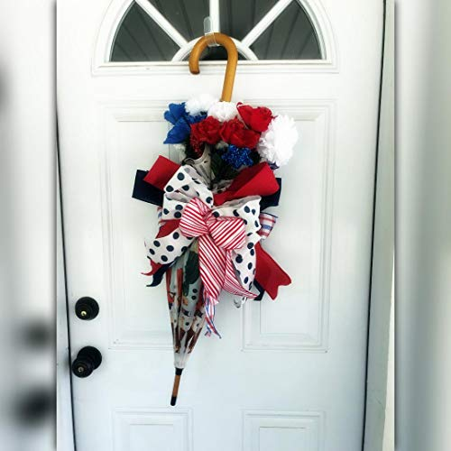 Vintage Style Umbrella Wreath, Fourth of July Decor]()