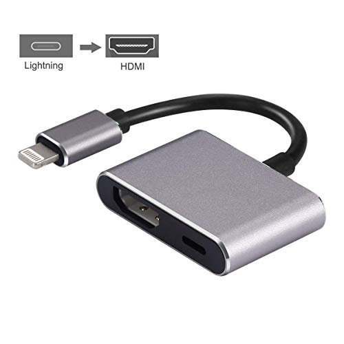 (Lightning to HDMI, Lightning Adapter Cable, 1080P Lightning Digital AV Adapter, Sync Screen HDMI Connector with Charging Port for Select iPhone/iPad Models, Support iOS 11 and Before, No APP Needed)