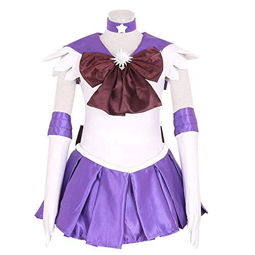 RAIN Sailor Moon Saturn Hotaru Tomoe Cosplay Costume Anime Dress for Women Purple, White