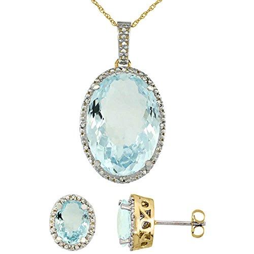 Or jaune 9Ct naturel ovale aigue-marine Boucles d'oreilles et pendentif Set Accents de diamant