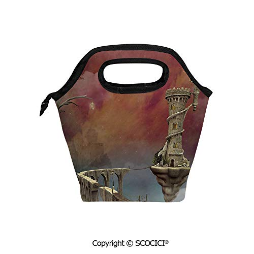 Reusable Printed Design Lunch Bag Fairy Tale Medieval Castle High Clouds in Foggy Mist Air Magical Scenery Lunch Tote bag for Work and School.