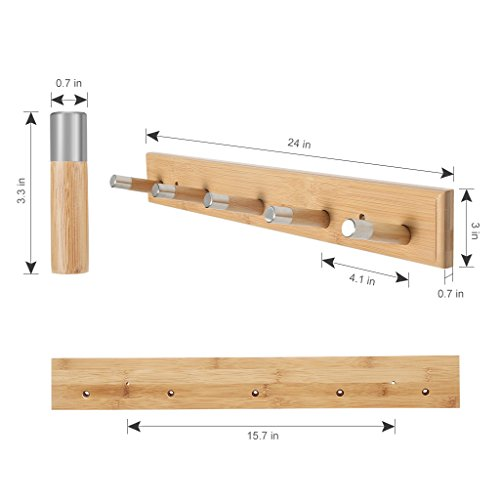 Bags LANGRIA Wall Mounted Coat Rack with Hooks Eco-Friendly Space Saving Bamboo Design with Embedded Screws and Five Hangers for Jackets Coats Scarfs Hats Umbrellas Holds 10kg in Weight