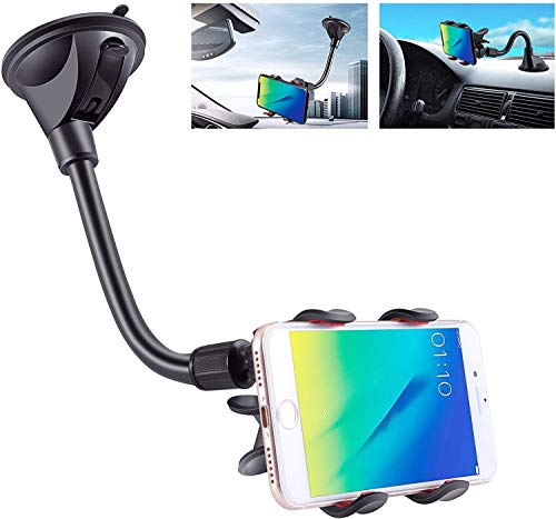 IPOW Upgraded X-Shaped Double Clamp Universal Long Shockproof Arm Phone Car Mount Windshield/Dash With Strong Suction Cup